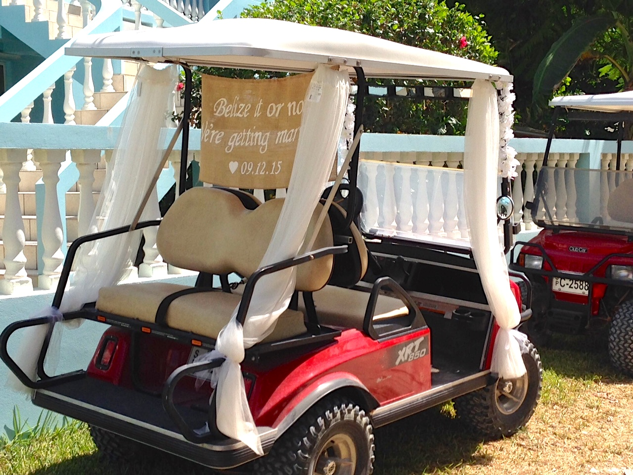 Weddings | Vacation Rentals, Ambergris Caye, Belize on ford think electric golf cart, burning man golf cart, pink golf cart,